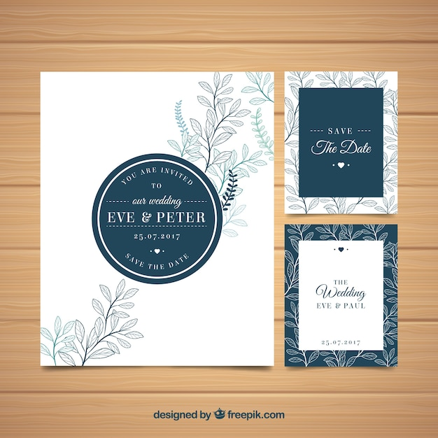 Elegant wedding invitation with leaves sketches vector free download elegant wedding invitation with leaves sketches free vector stopboris Images