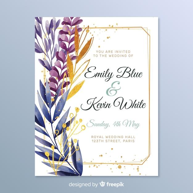 Elegant wedding invitation with leaves Free Vector