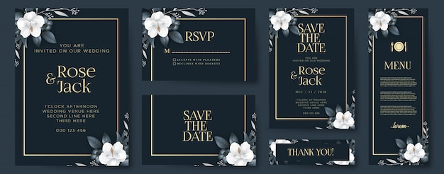 Elegant wedding invitation with ornaments Premium Vector