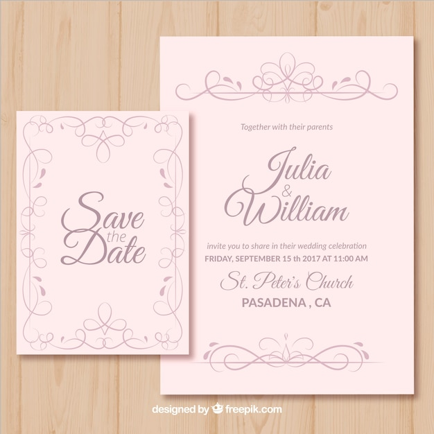 Wedding Invitation Decorated With Golden Flowers Free Vector