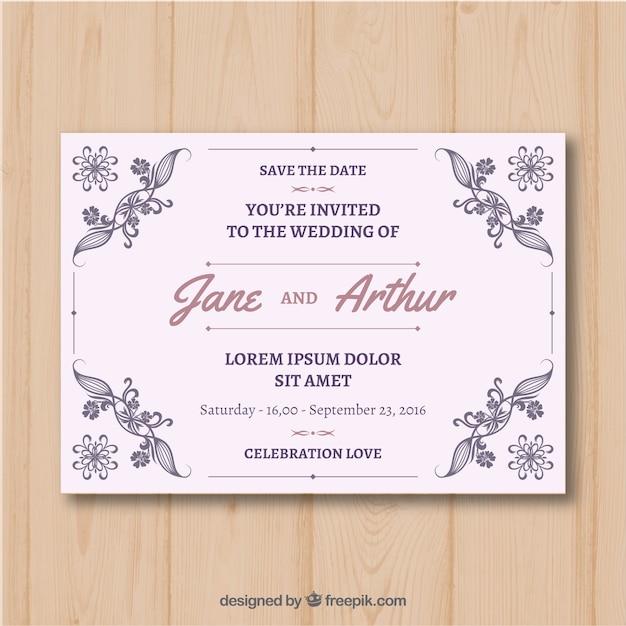 Elegant wedding invitation with vintage style vector free download elegant wedding invitation with vintage style free vector stopboris Gallery