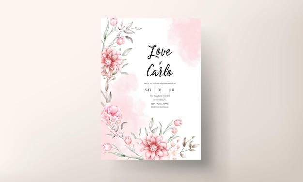 Элегантное свадебное приглашение с акварельными цветочными мотивами Premium векторы