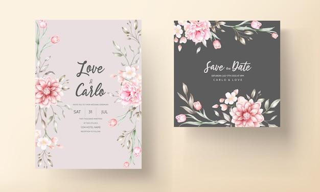 水彩花をモチーフにしたエレガントな結婚式の招待状 無料ベクター