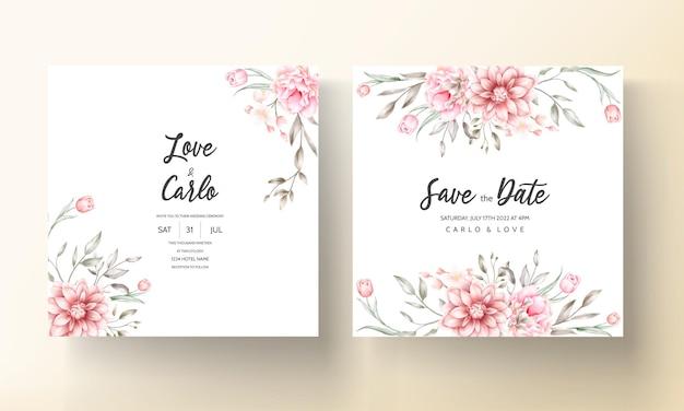 Элегантное свадебное приглашение с акварельными цветочными мотивами Бесплатные векторы
