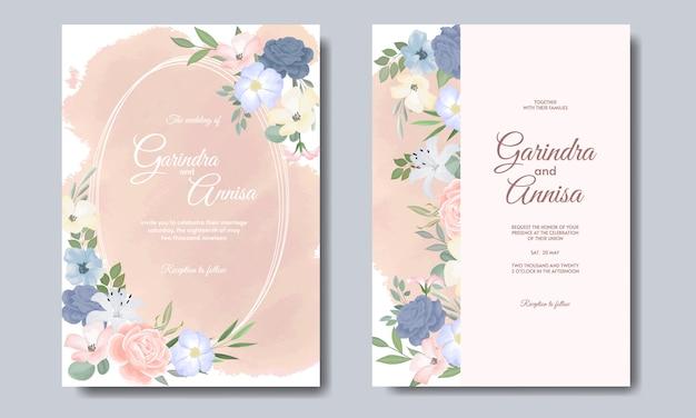 Шаблон карты элегантные свадебные приглашения с цветными цветами и листьями Premium векторы