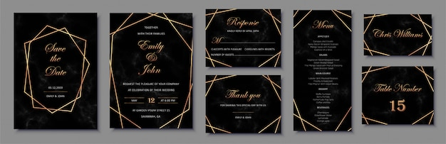 Premium Vector Elegant Wedding Invitations Set With Golden Geometric Frames And And Black Marble Texture