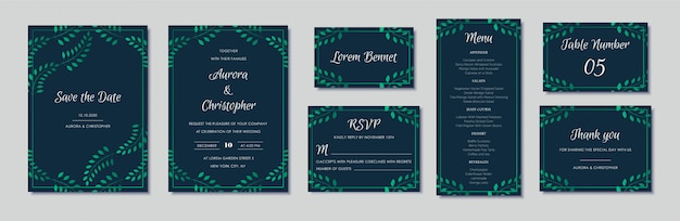 Elegant wedding invitations set with green floral motives and navy blue Premium Vector