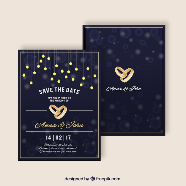Elegant wedding invitations with golden rings vector free download elegant wedding invitations with golden rings free vector stopboris