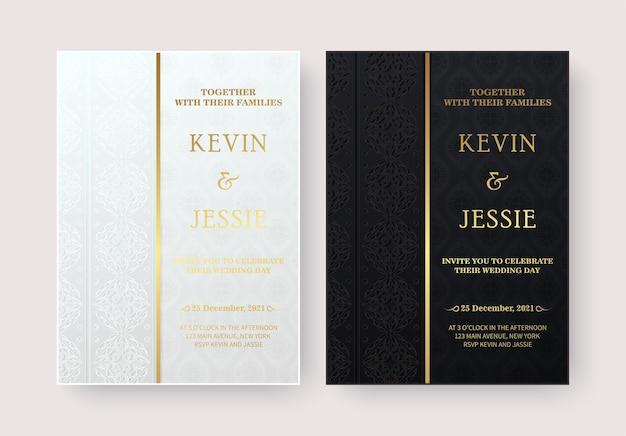 スタイリッシュな装飾パターンデザインのエレガントな結婚式の招待状 Premiumベクター