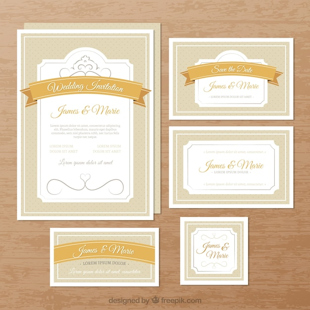 elegant wedding invitations vector free download