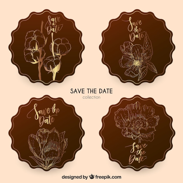 Elegant wedding labels with hand drawn flowers