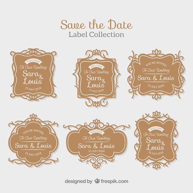 Elegant wedding labels with retro style