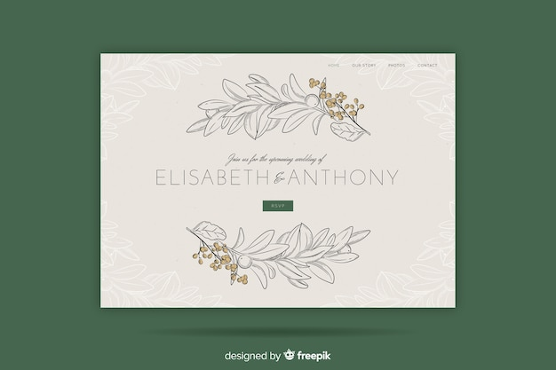 Elegant wedding landing page template Free Vector