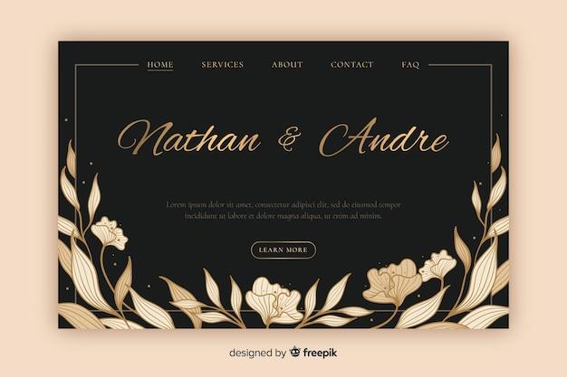 Elegant wedding landing page Free Vector