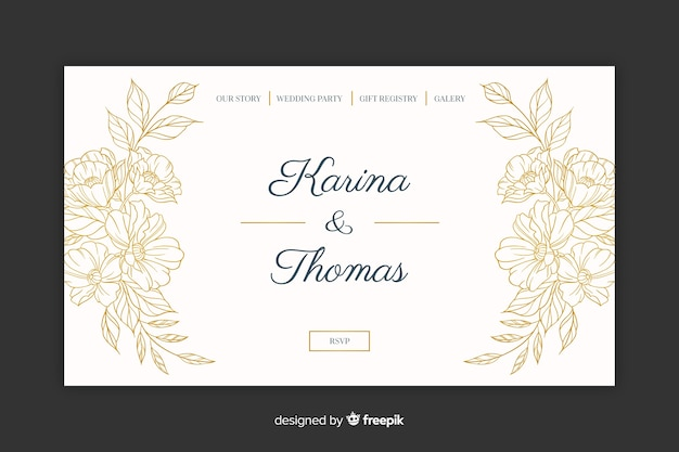 Elegant wedding landing page Vector | Free Download