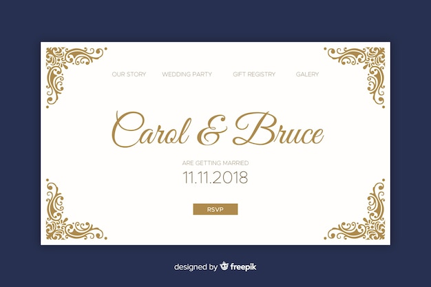 Elegant wedding landing page Free Vector