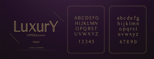 Elegant wedding luxury alphabet letters font set. Premium Vector