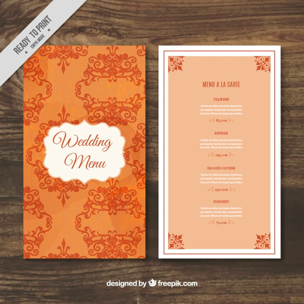 Elegant Wedding Menu Template Free Vector  A La Carte Menu Template
