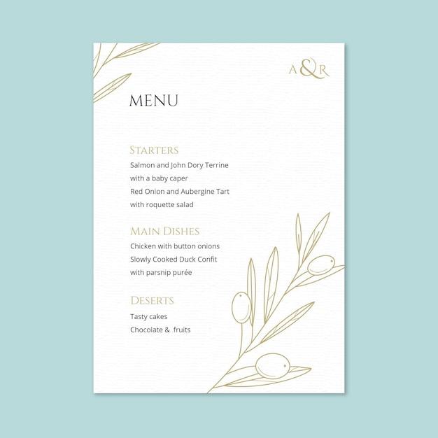 Элегантный шаблон свадебного меню Бесплатные векторы