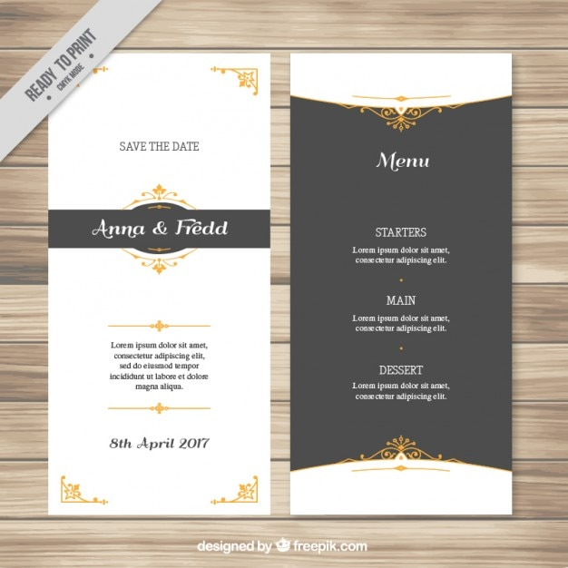 Elegant Wedding Menu With Golden Details  Invitation Free Download