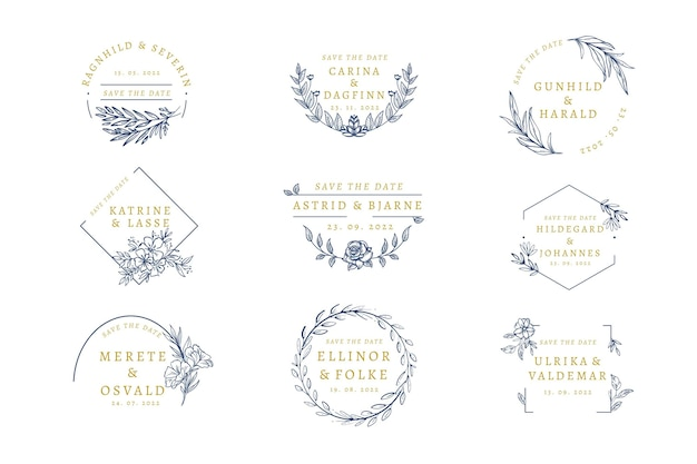 Elegant wedding monogram pack Free Vector