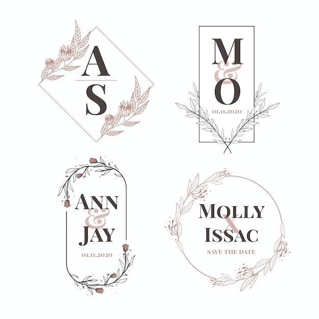 Elegant wedding monograms collection Free Vector
