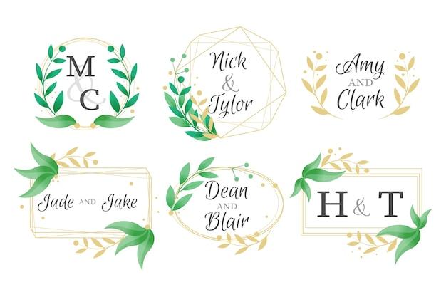 Elegant wedding monograms set Free Vector