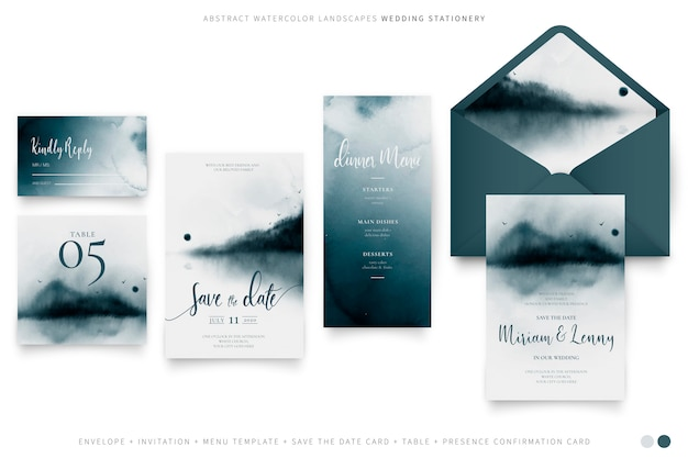 Elegant wedding set with abstract watercolor landscapes Free Vector