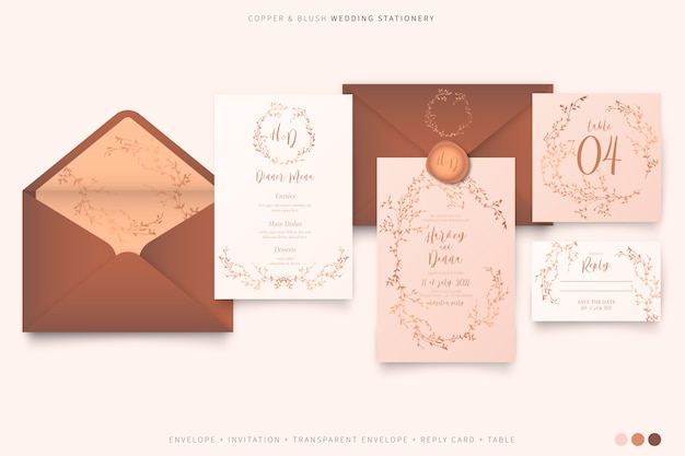 Elegant wedding stationery in blush and copper color palette Free Vector