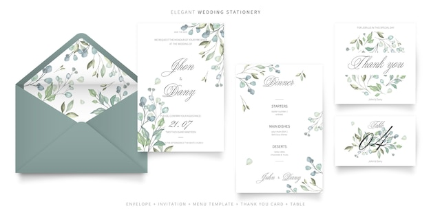 Elegant wedding stationery collection Free Vector