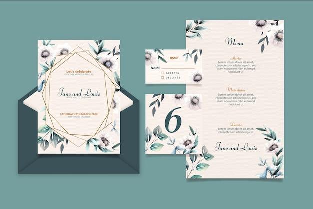 Elegant wedding stationery set Free Vector