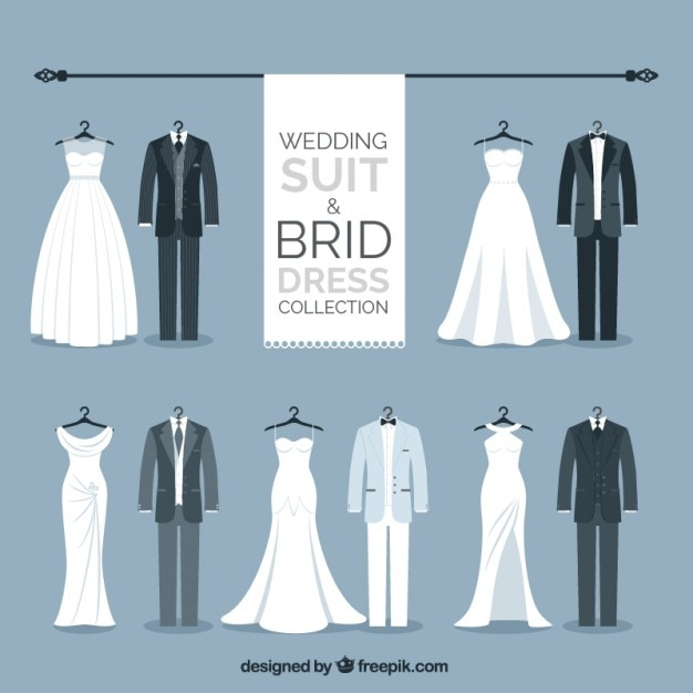 Elegant wedding suit and brid dress collection Free Vector