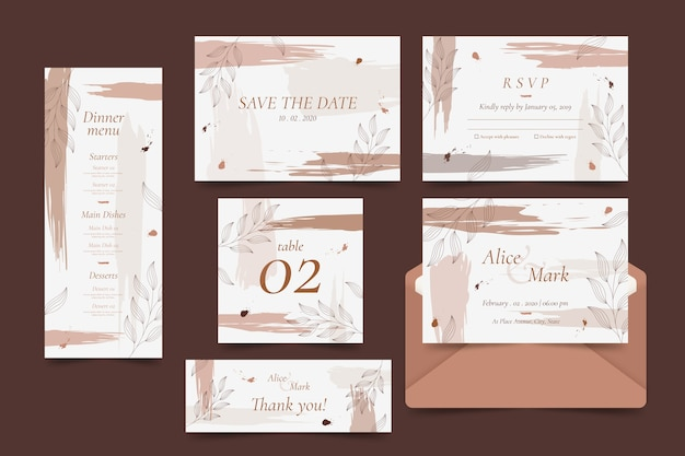 Elegant wedding template collection Free Vector