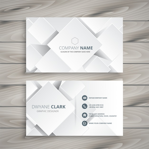 elegant white business card with 3d shapes Free Vector