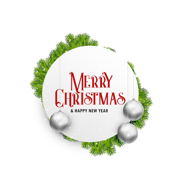 Elegant white christmas greeting card design with hanging balls and leaves Free Vector