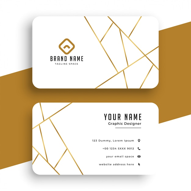 Elegant white and gold business card template Free Vector