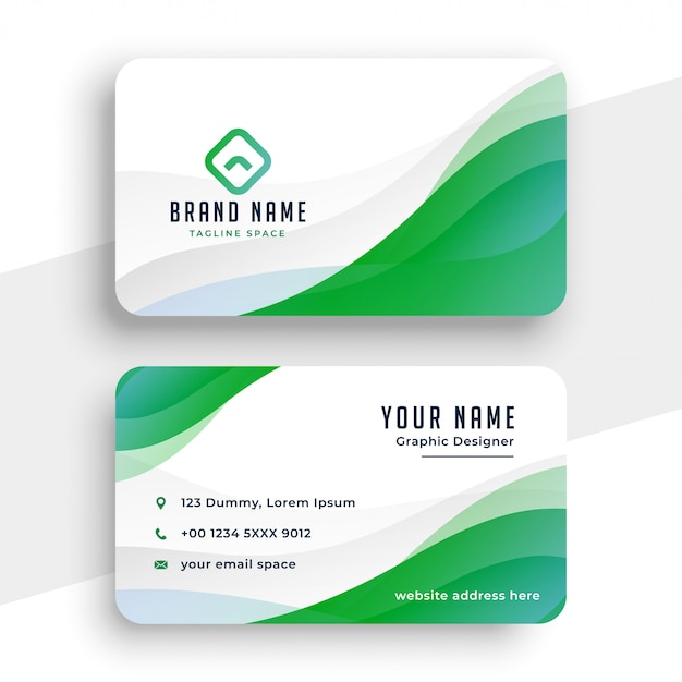Elegant white and green business card template Free Vector
