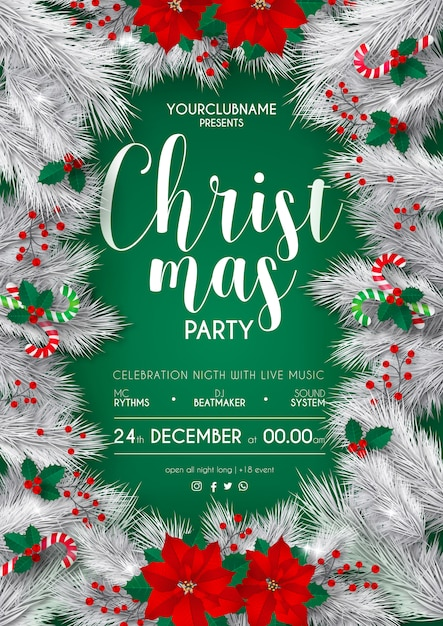 Elegant White And Green Christmas Party Poster Template