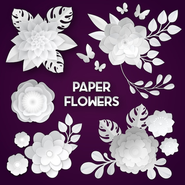 Elegant white paper cut flowers Free Vector