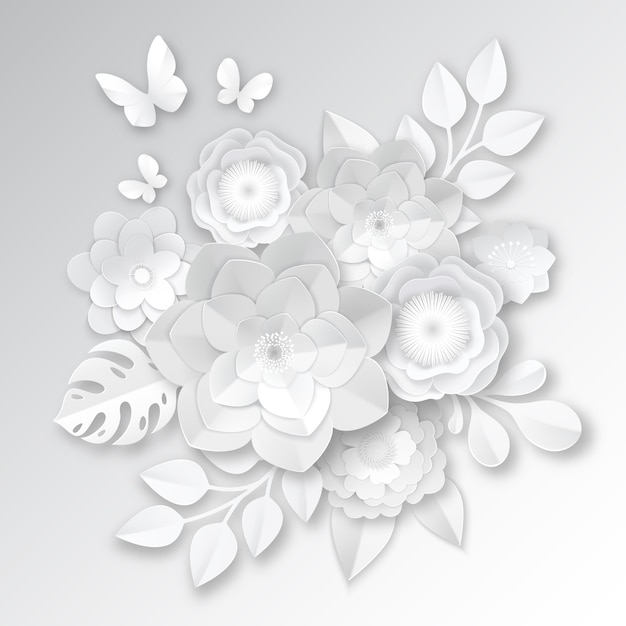 Elegant white paper cut flowers Free Vector