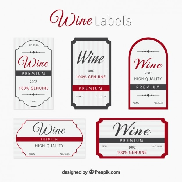 Elegant wine label collection