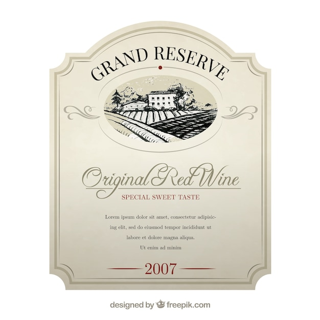 Elegant Wine Label Vector  Free Download