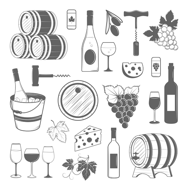Elegant wine set of vector vintage elements Premium Vector