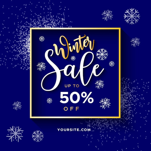 Elegant winter sale banner with glitter Free Vector