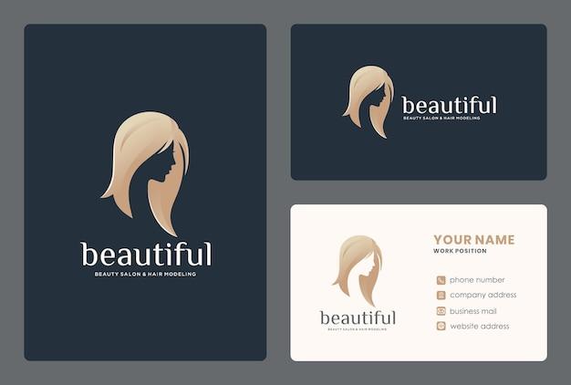 名刺テンプレートとエレガントな女性の顔/美容スタジオのロゴデザイン。 Premiumベクター