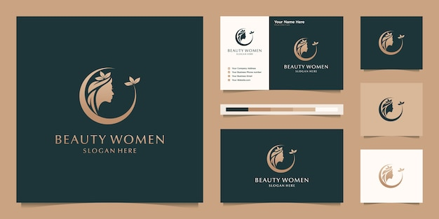 Elegant woman hair salon gold gradient logo design and business card Premium Vector
