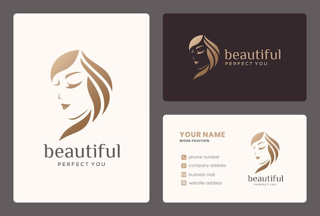 Elegant woman logo  with business card for salon, hairstylist, makeover, beauty care. Premium Vector