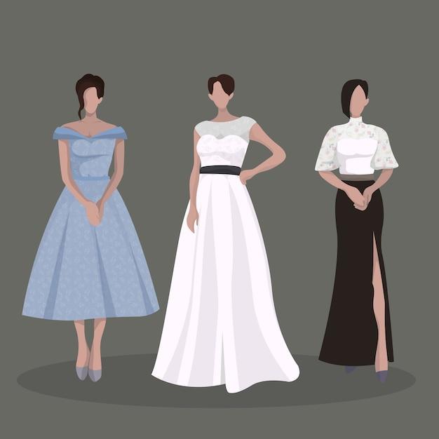 Elegant woman party dress outfits Premium Vector