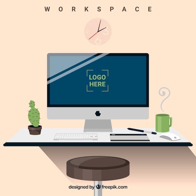 Элегантный фон рабочего пространства Бесплатные векторы