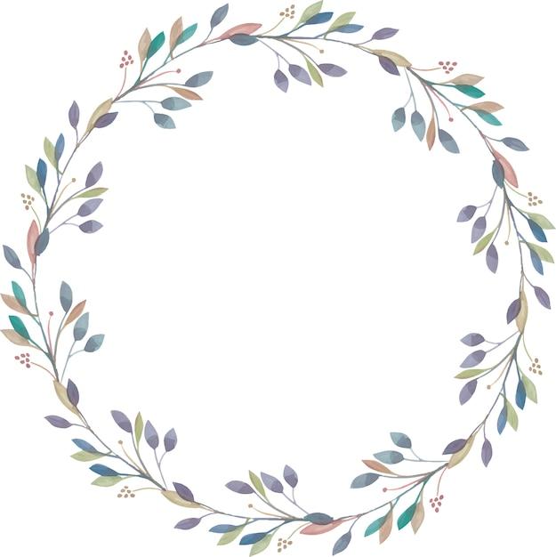 Elegant wreath from watercolor branches Premium Vector